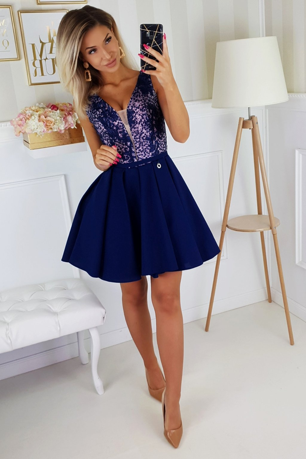 Dark blue tie back formal dress
