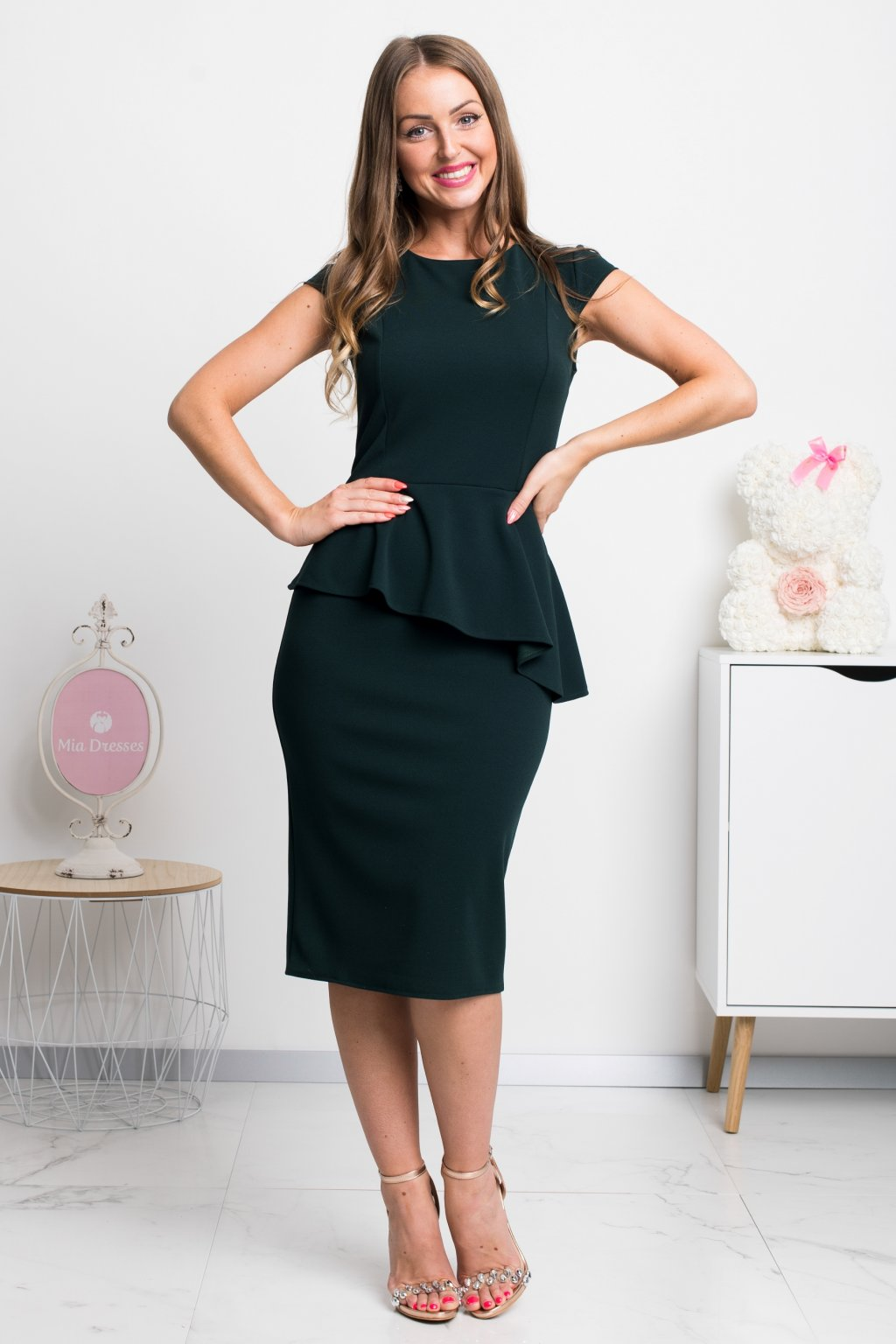 Dark green peplum ruffle midi dress