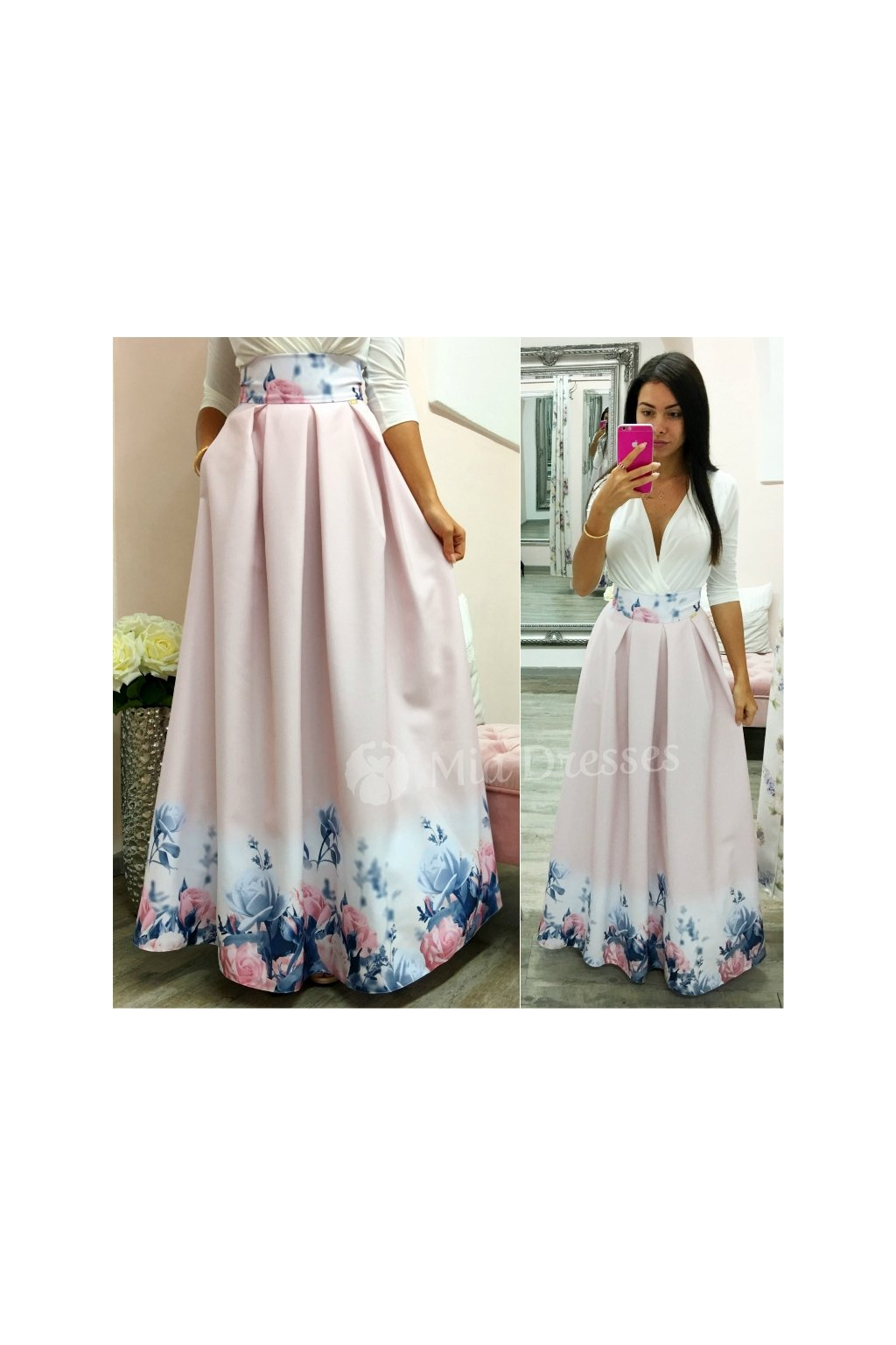 Dusty pink floral maxi skirt