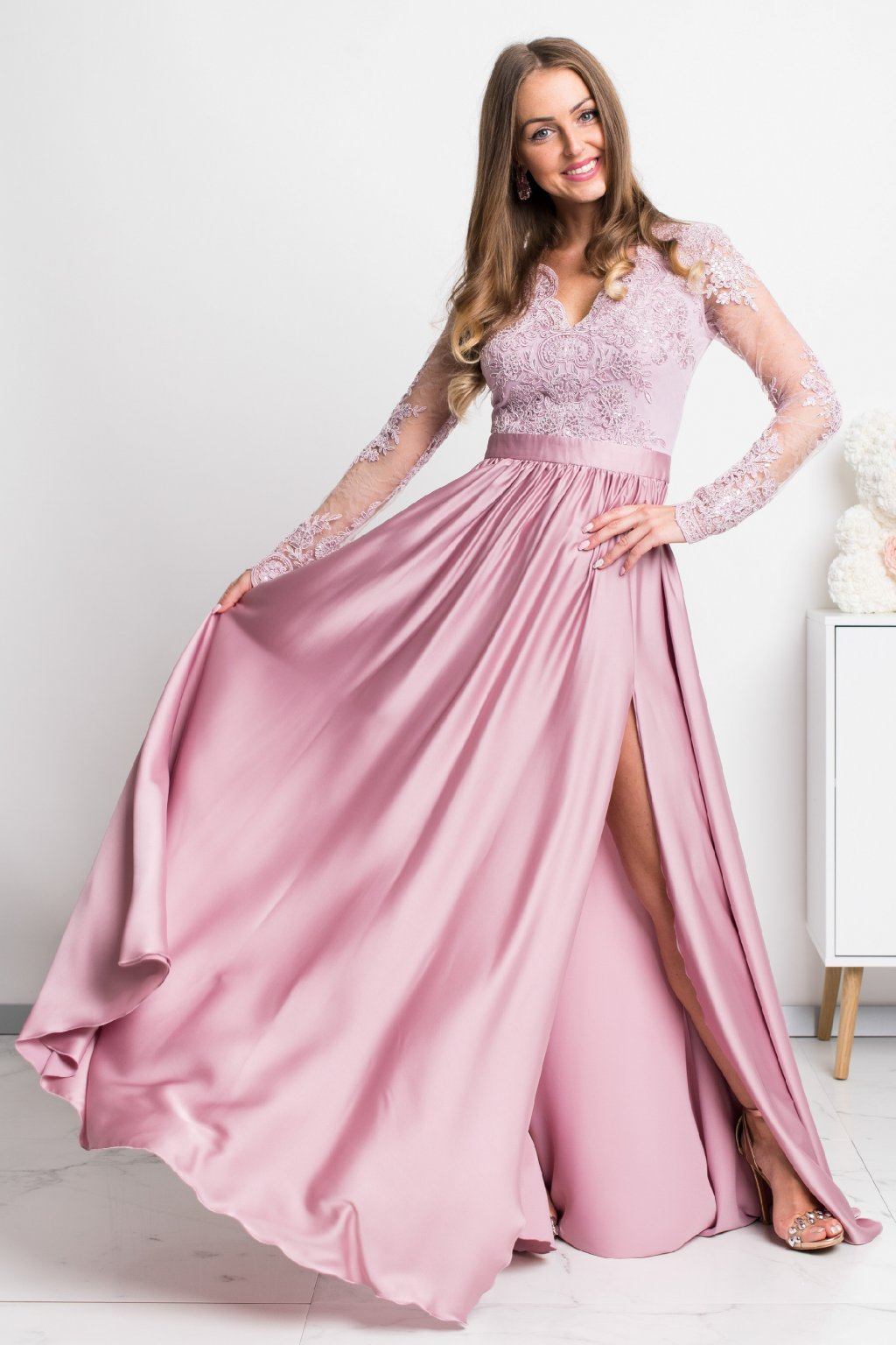 Dusty pink lace and satin formal dress