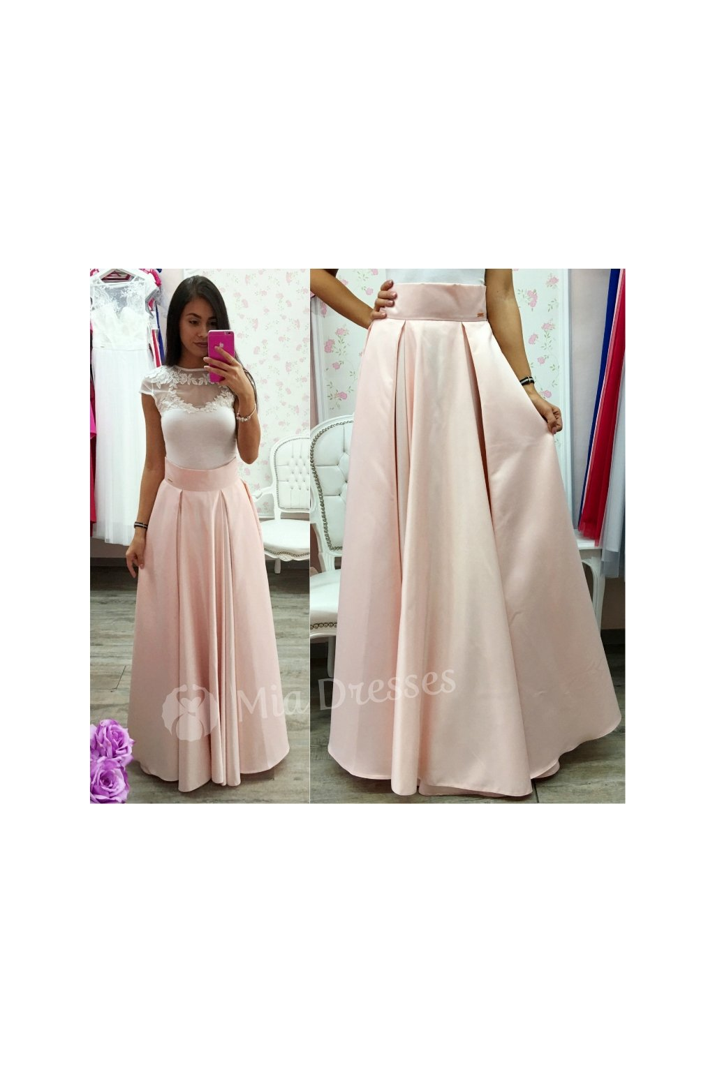 Dusty pink long skirt