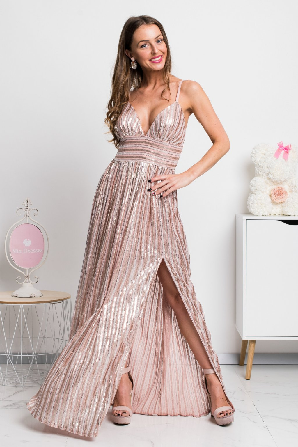 Dusty pink sequin formal dress