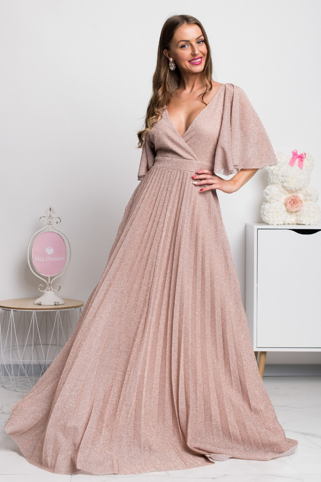 Dusty pink shiny loose sleeves formal maxi dress