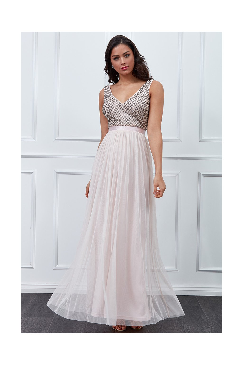 Dusty pink tulle formal dress