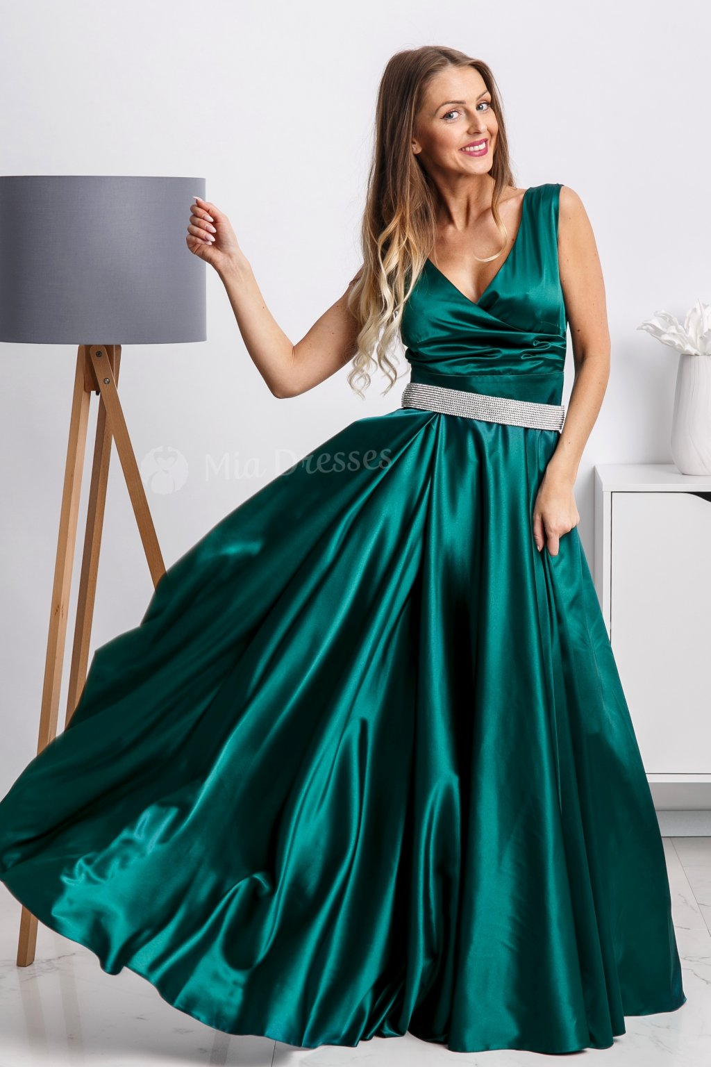 Emerald formal dress with strass belt