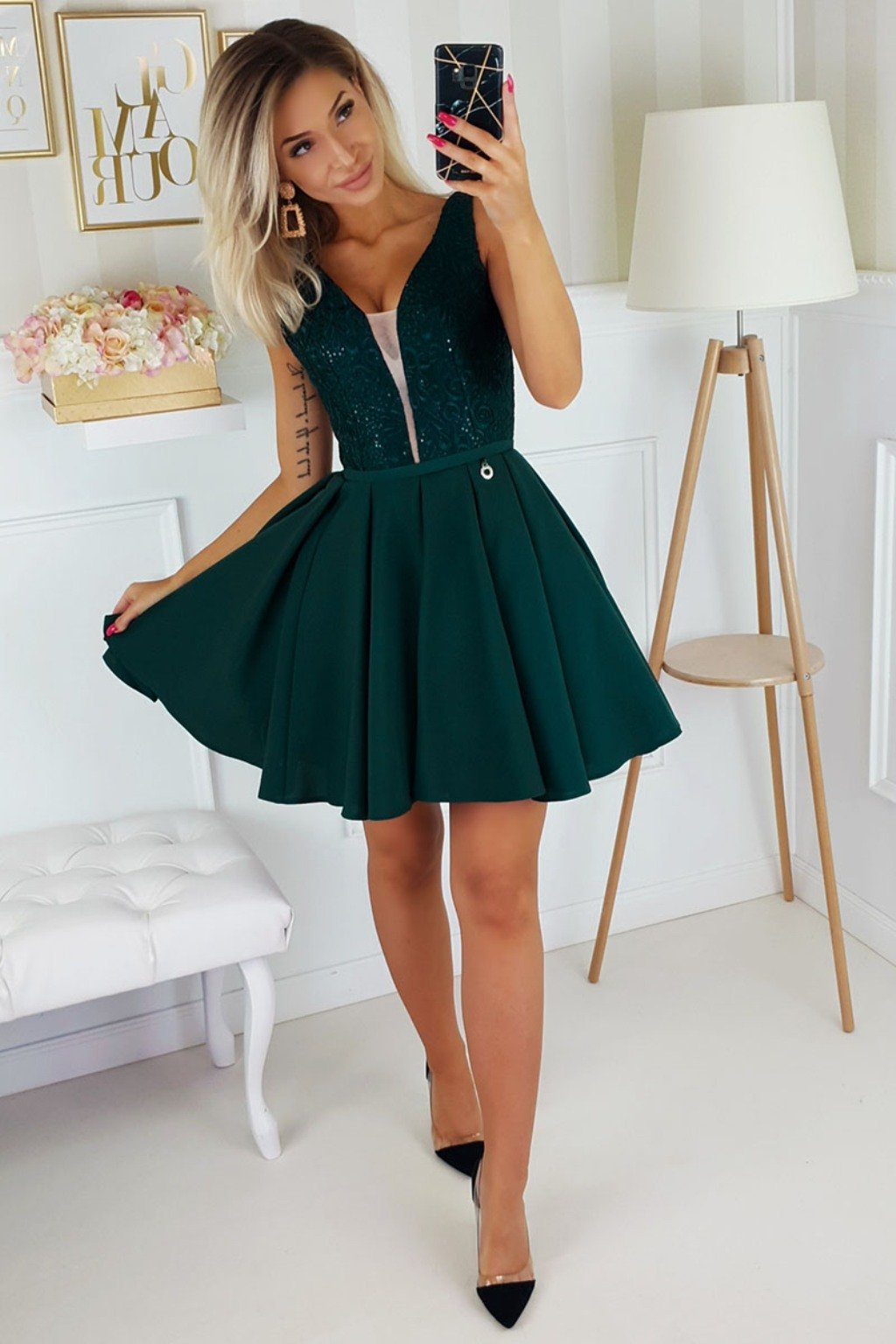 Emerald tie back formal dress