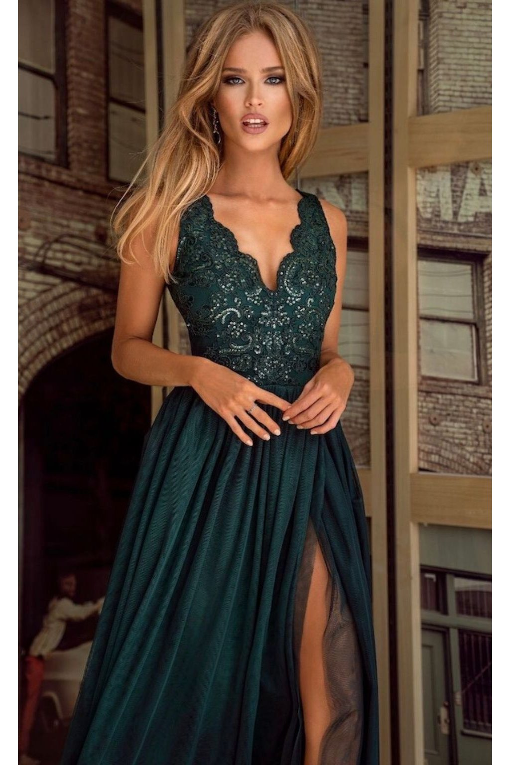 Emerald tulle split formal dress