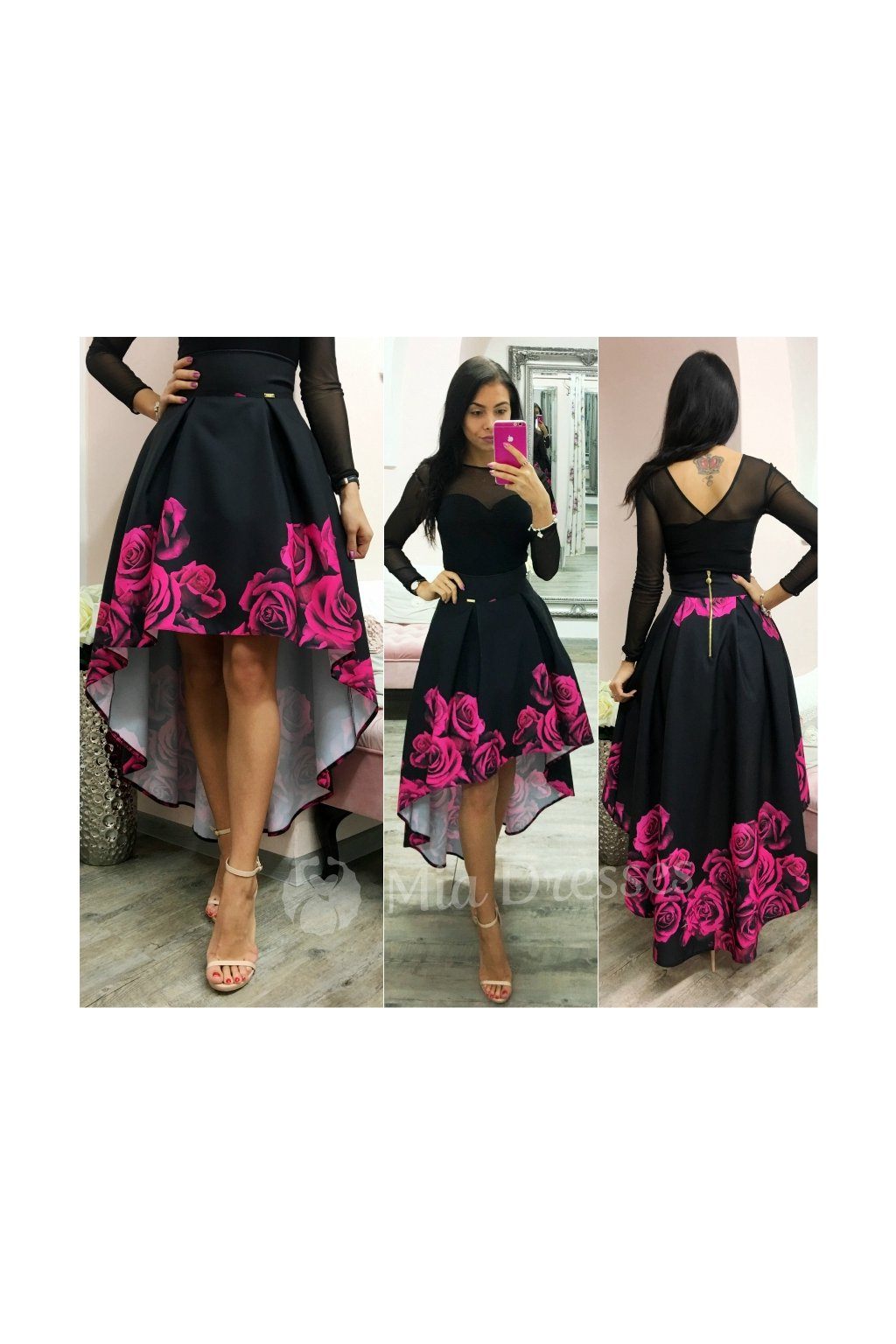 Floral asymmetric skirt FUSCHIA