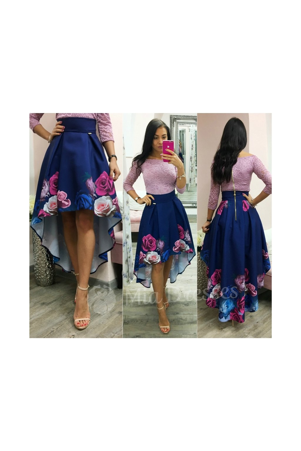 Floral asymmetrical skirt BLUE