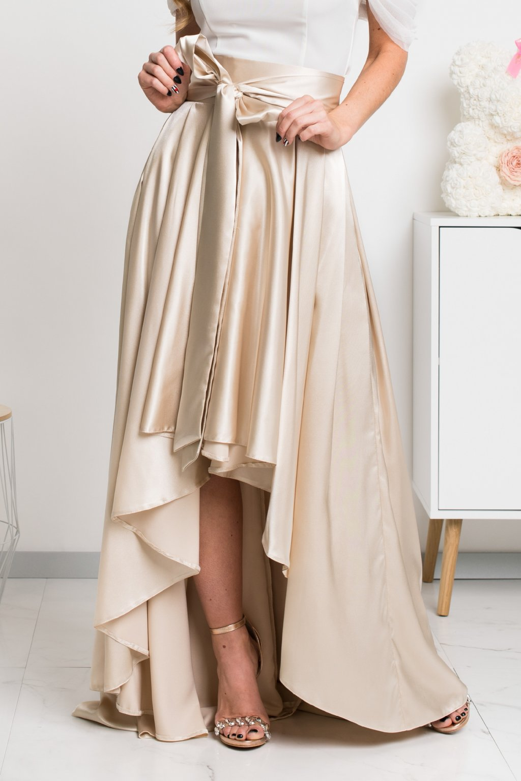 Gold satin asymmetric skirt
