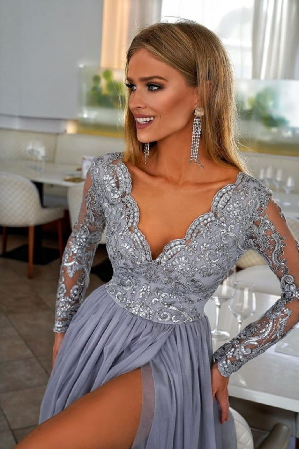Gray lace and tulle formal dress