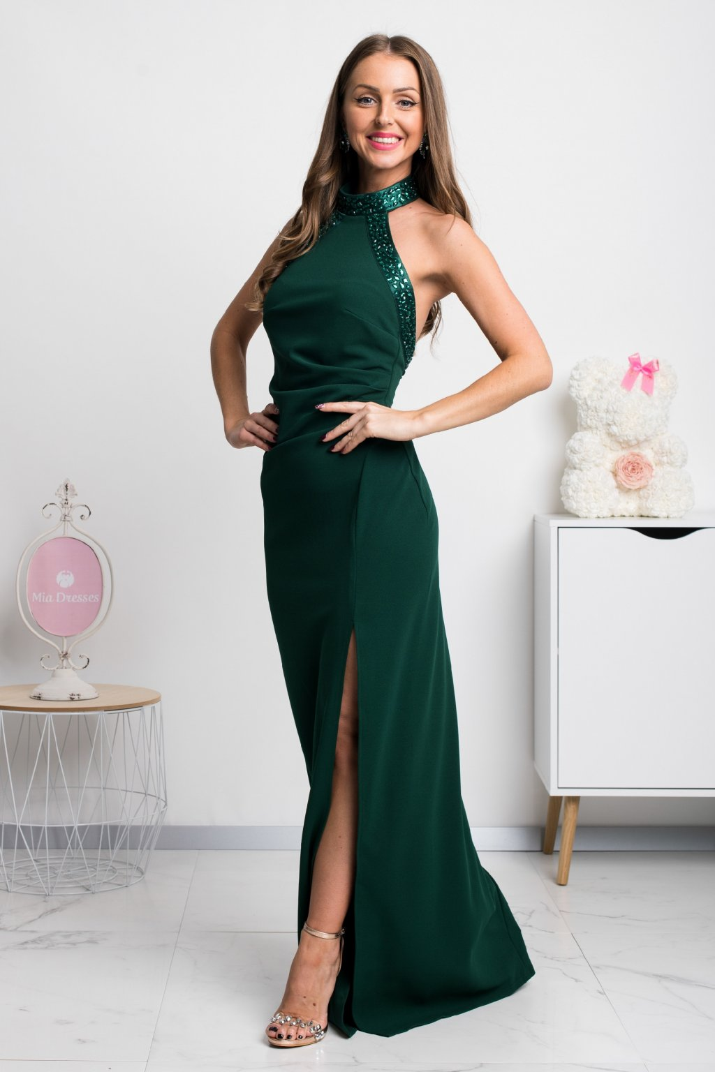 Green bodycon backless dress with rhinestones
