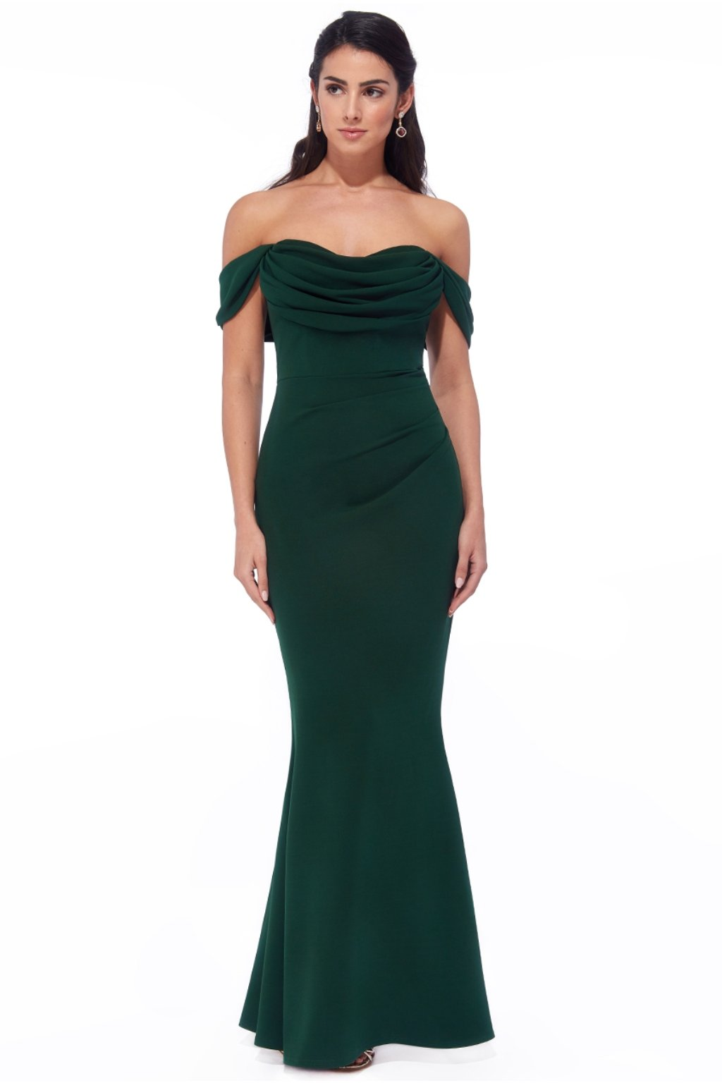 Green bodycon off-the-shoulders formal dress