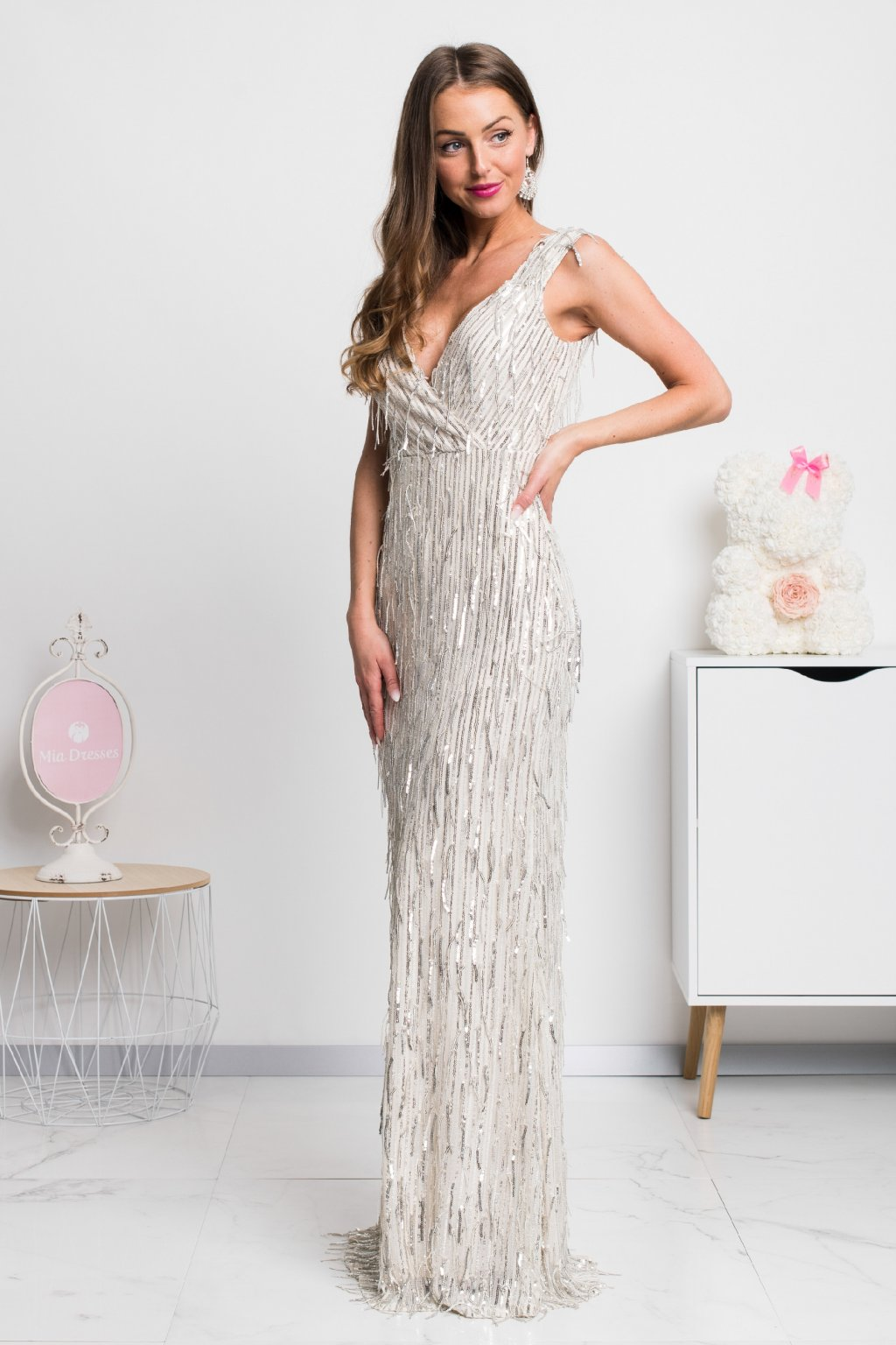 Ivory formal dress with silver tassels