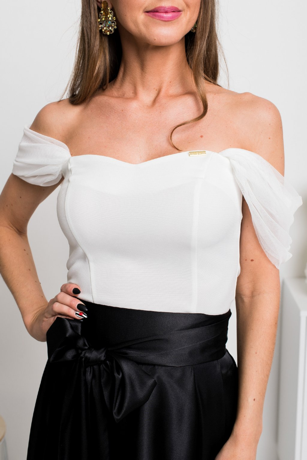 Ivory off-the-shoulders top