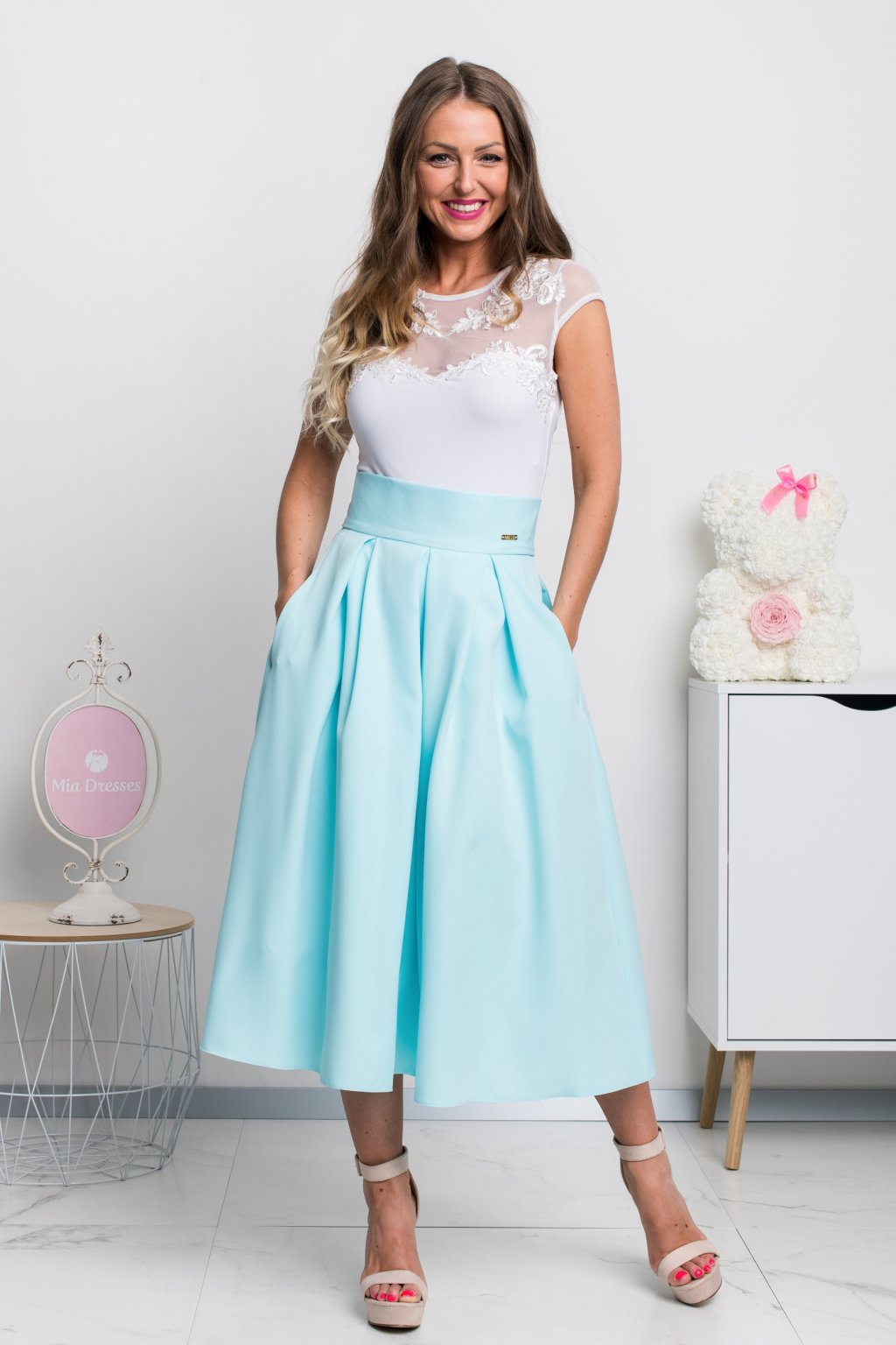 Light blue a-line midi skirt