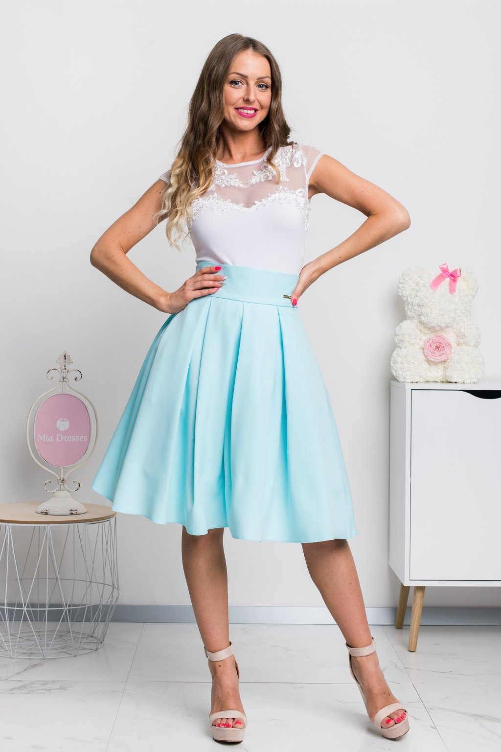 Light blue a-line short skirt