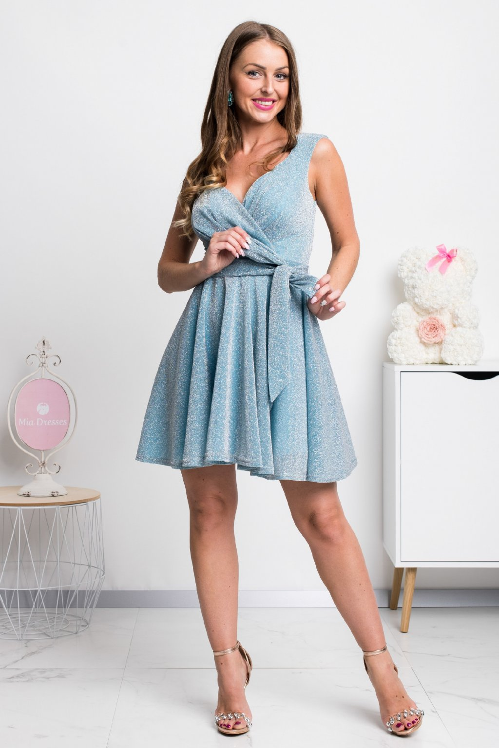 Light blue glittery mini dress