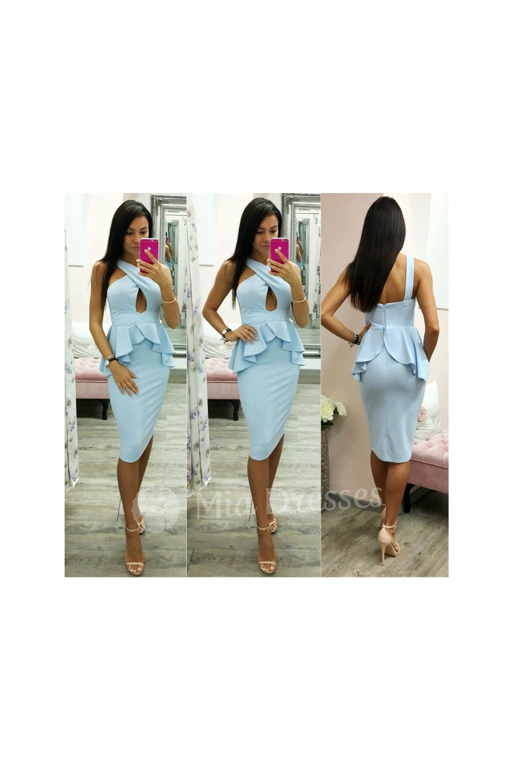Light blue peplum midi dress