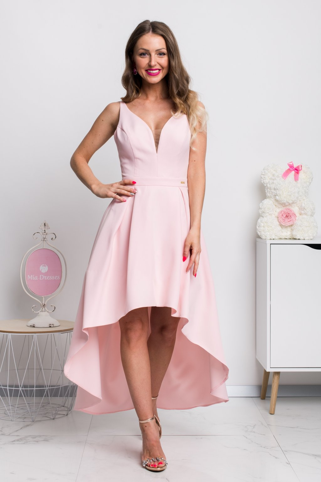 Light pink asymmetric dress