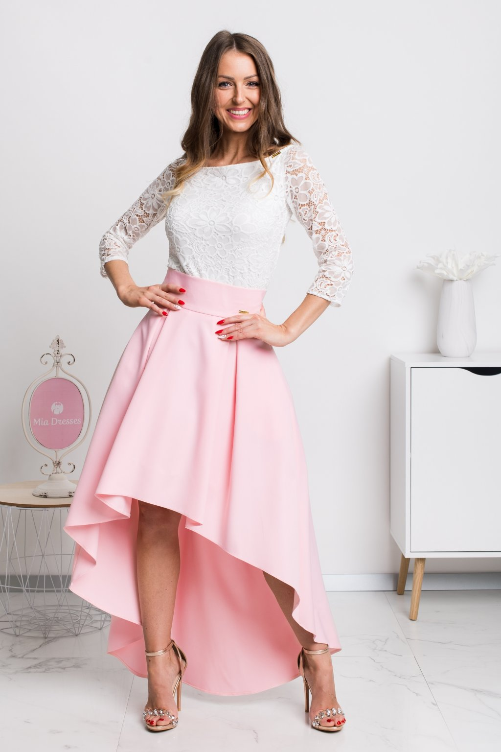 Light pink asymmetric skirt