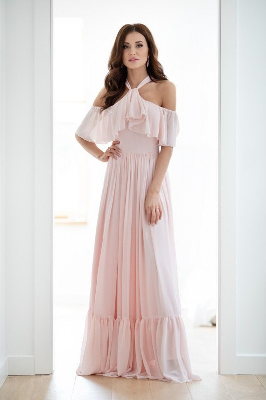 Light pink chiffon dress