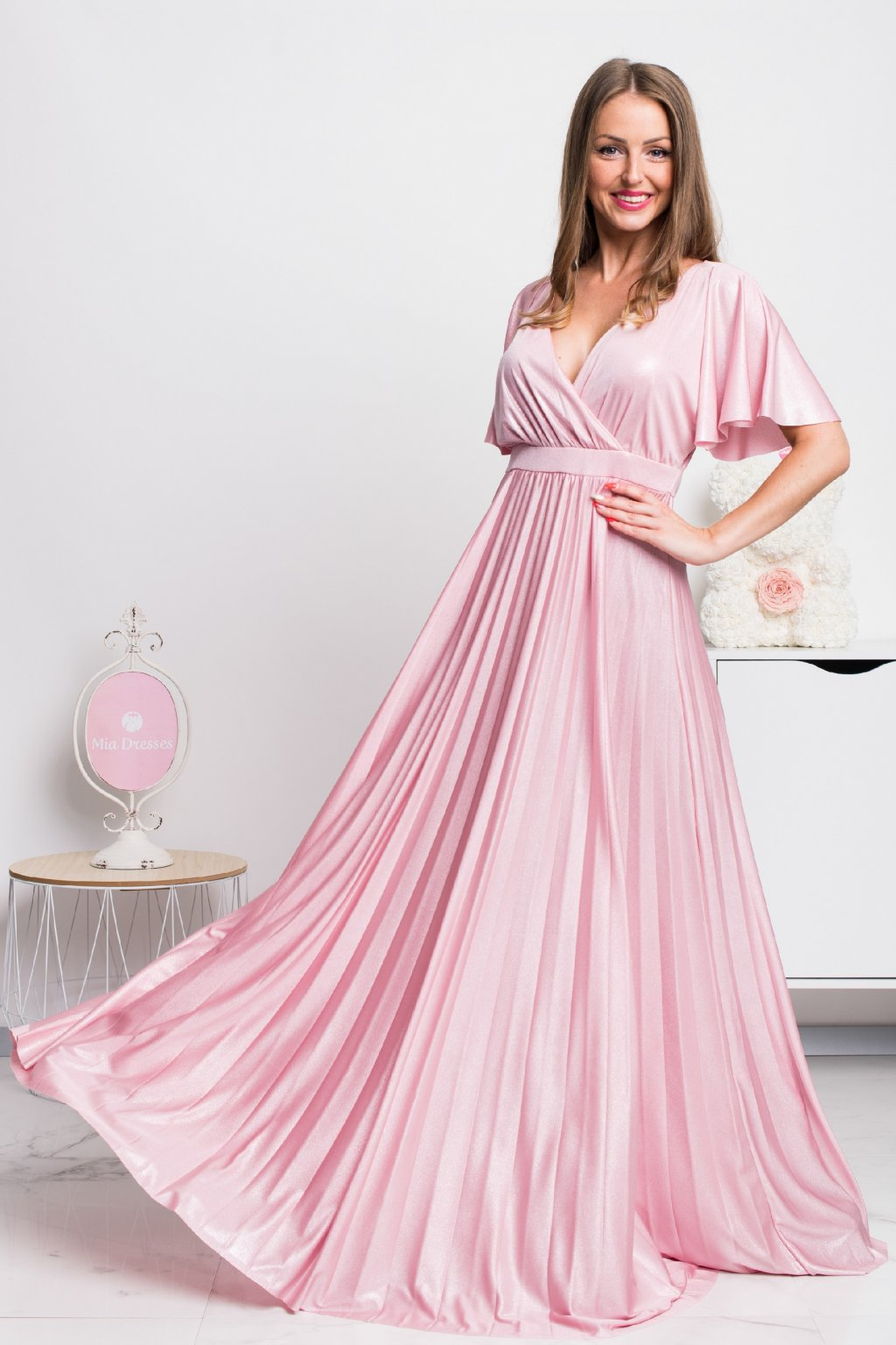 Light pink shiny dress with pleated skirt