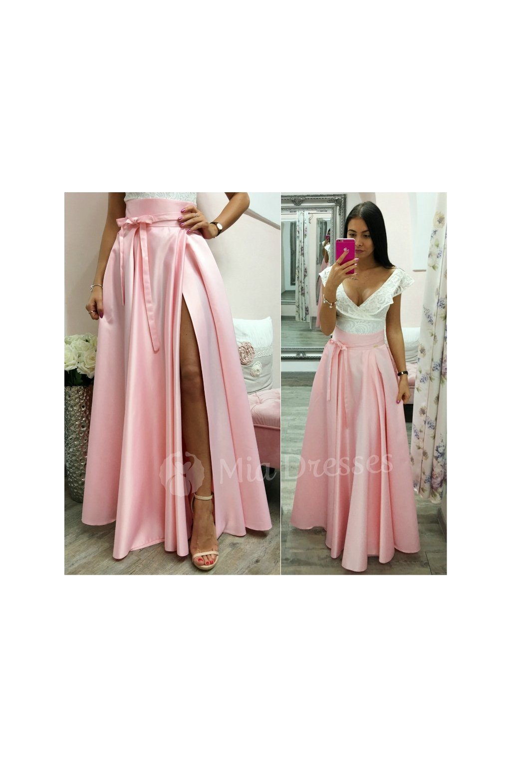 Light pink split maxi skirt