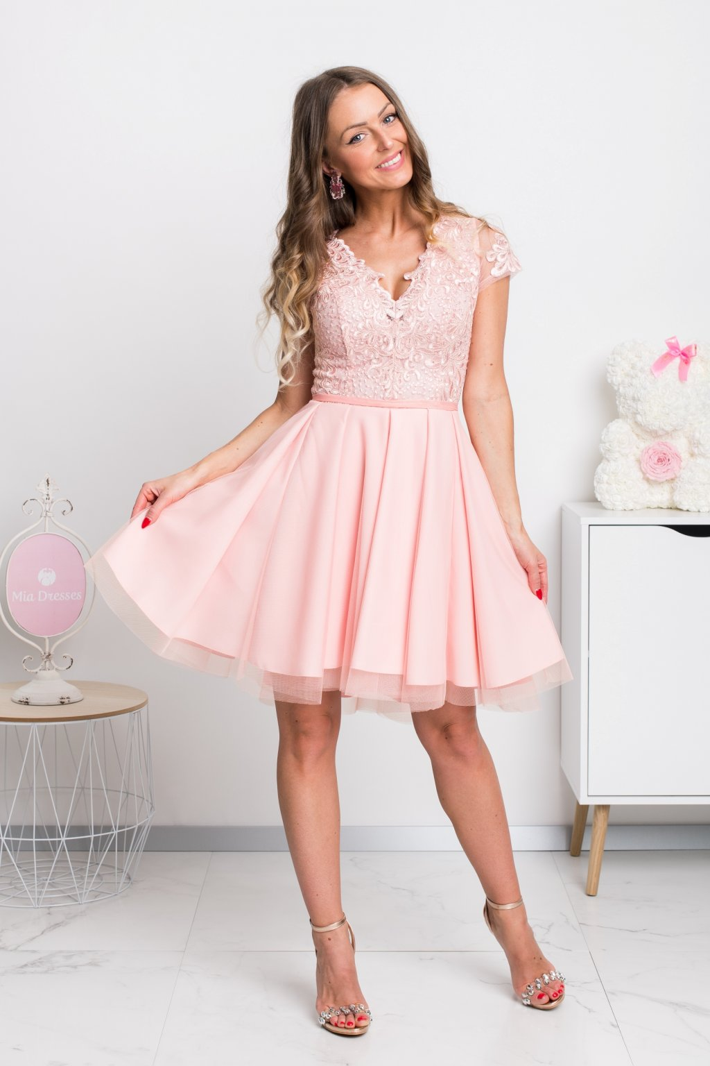 Light pink tulle and lace short dress