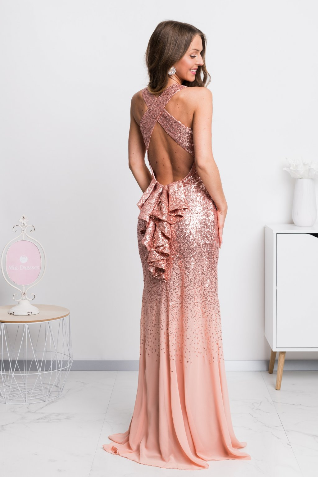 Peach sequin backless formal dress