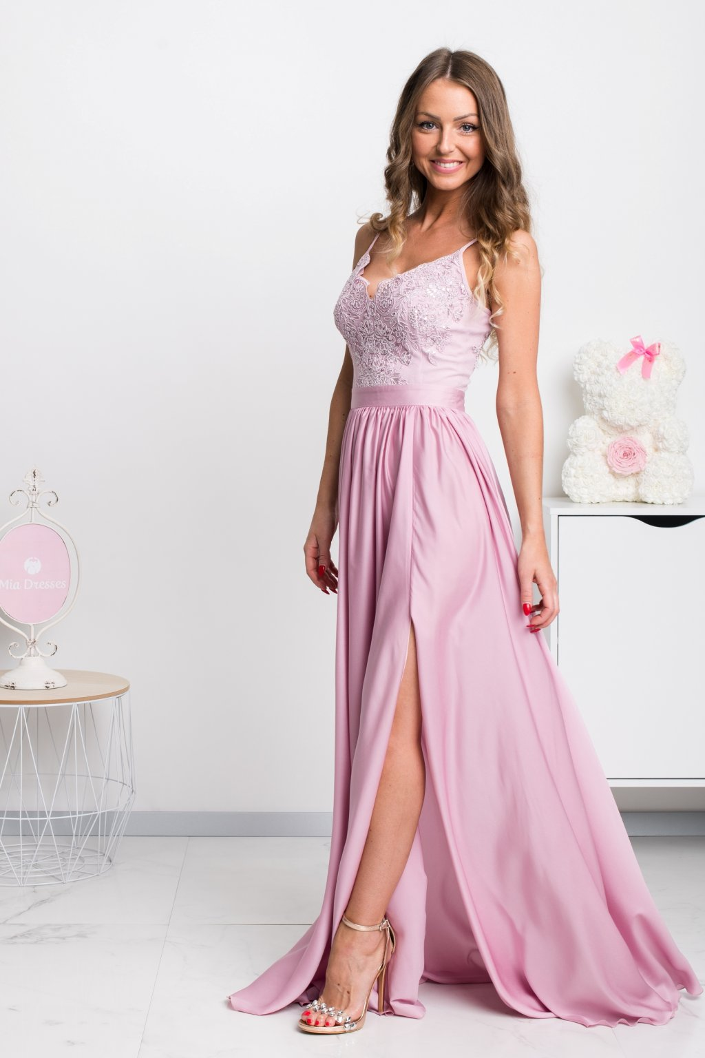 Pink sequin and satin formal dress