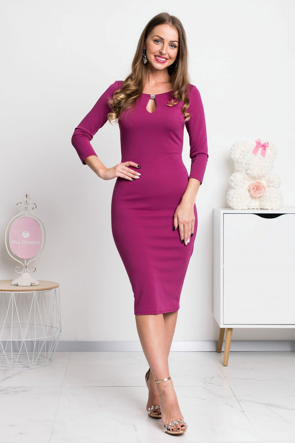 Pink sleeve bodycon midi dress