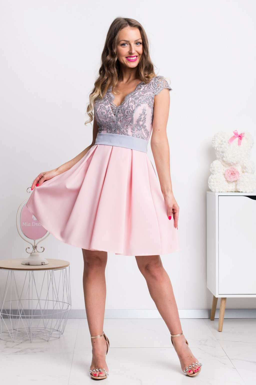 Pink-gray a-line formal mini dress