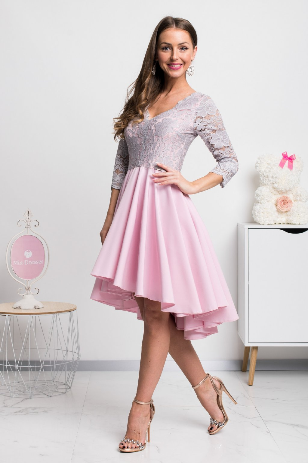 Pink-gray asymmetric lace dress