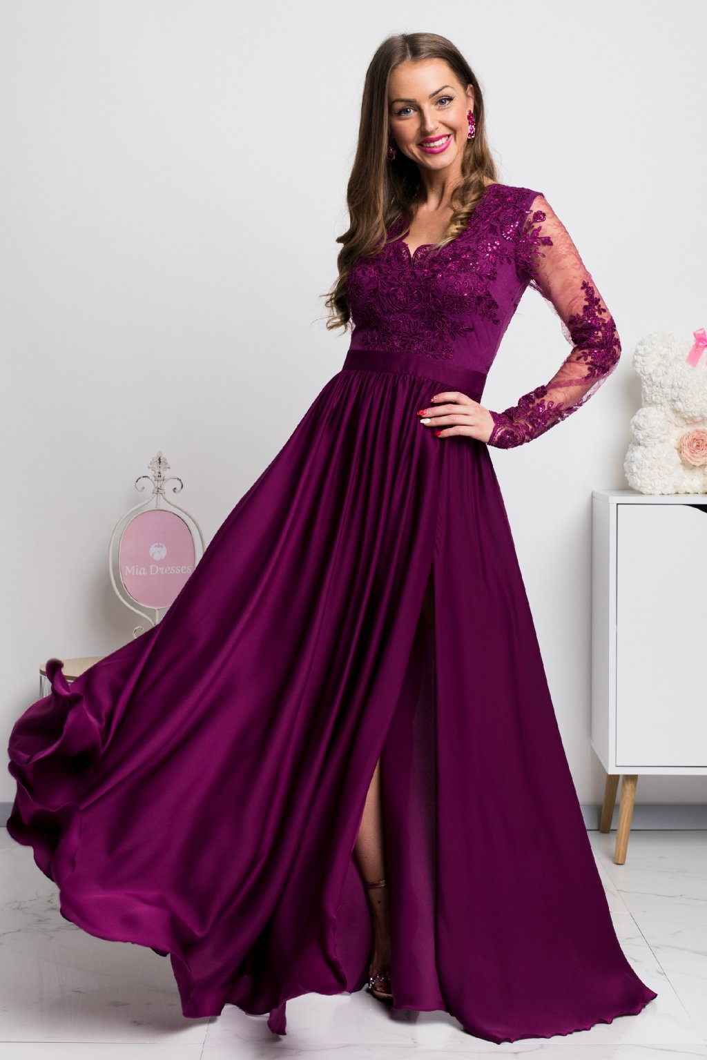 Purple lace and satin formal dress
