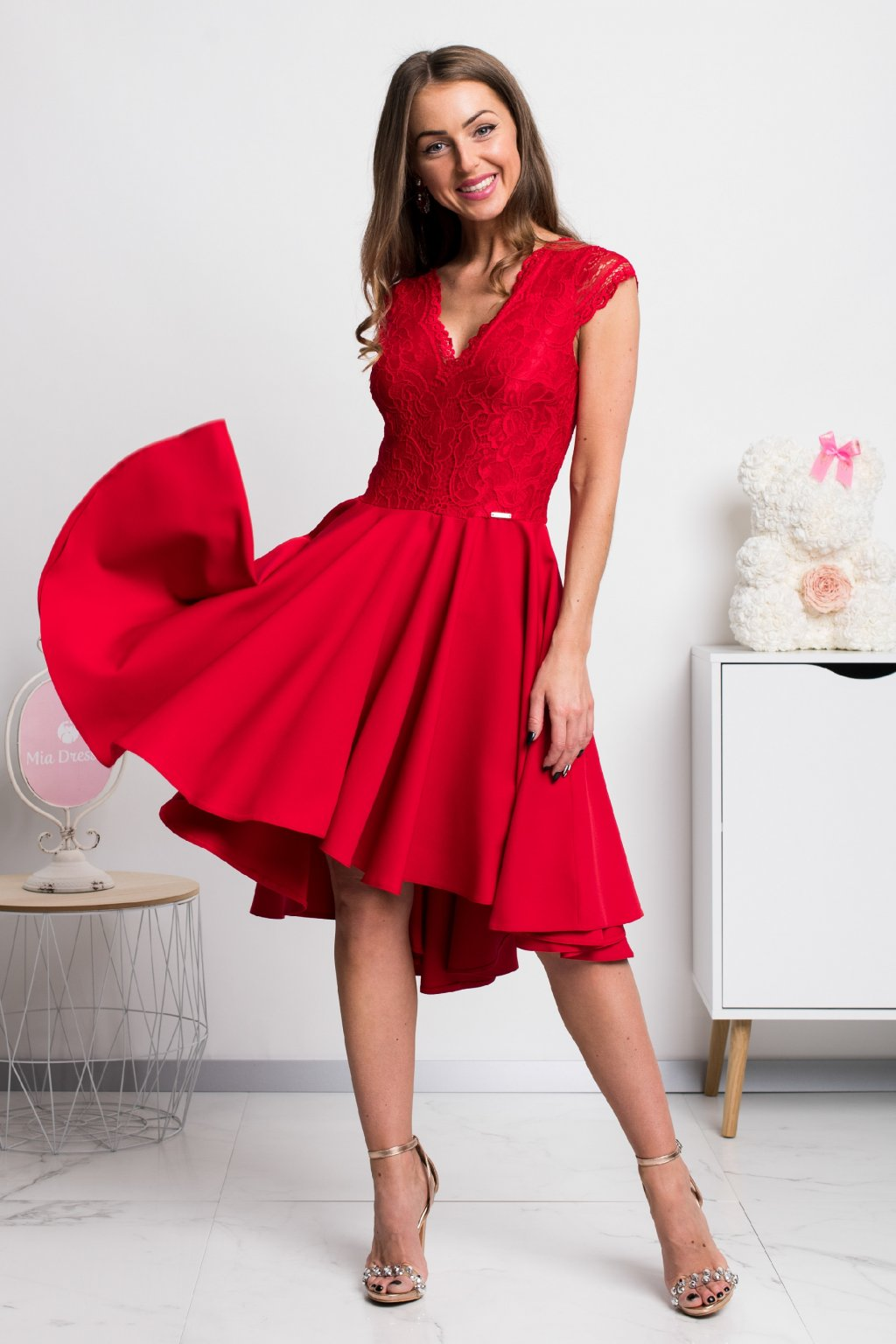 Red asymmetric short sleeve lace dress