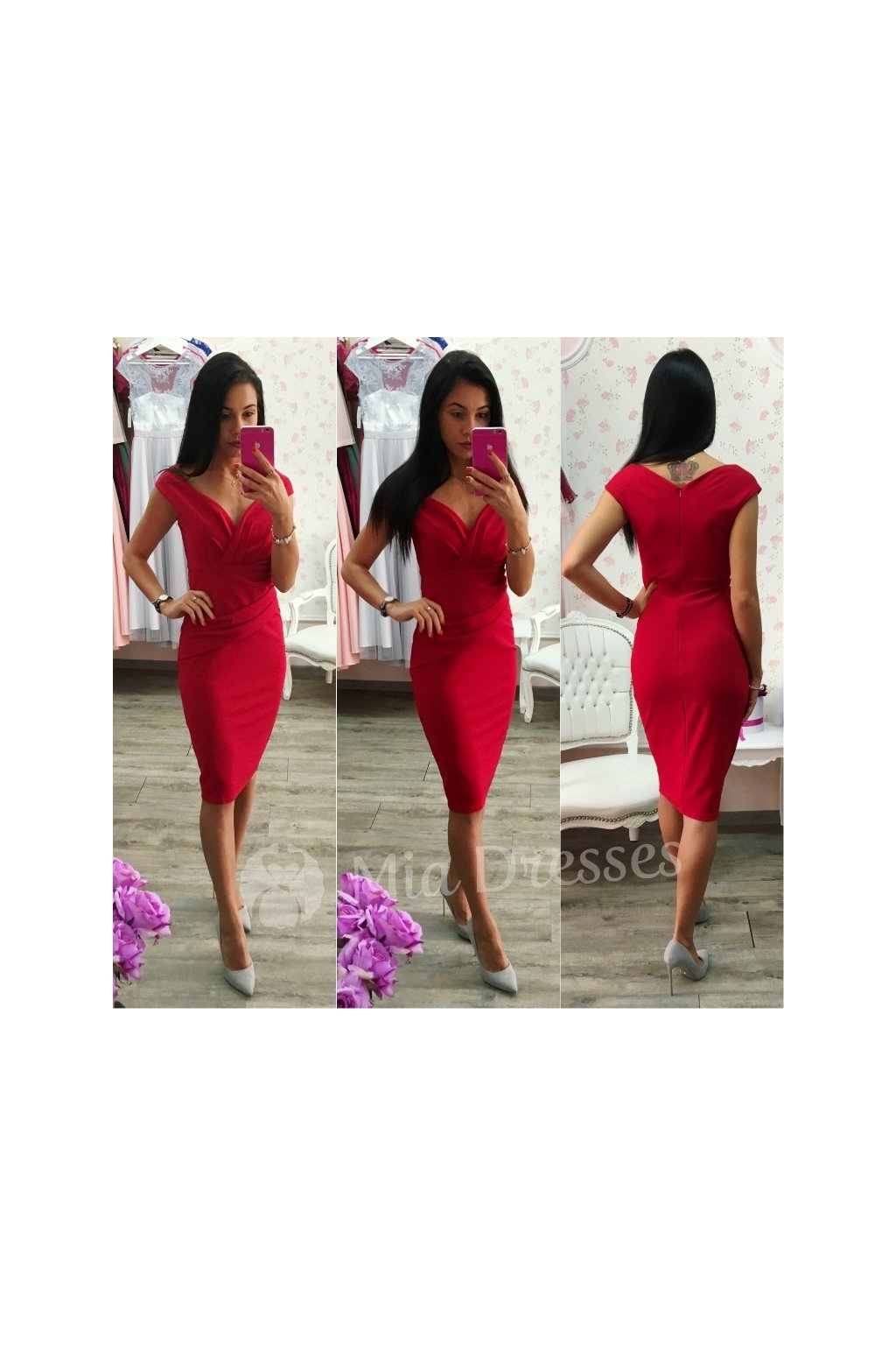 Red bodycon short dress