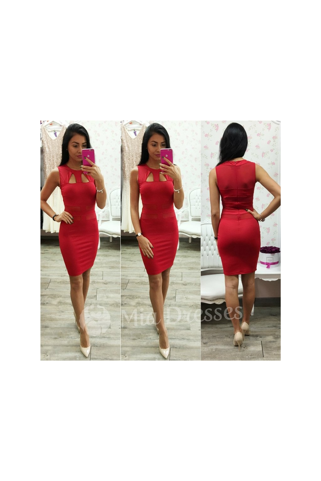 Red cut-out short dress