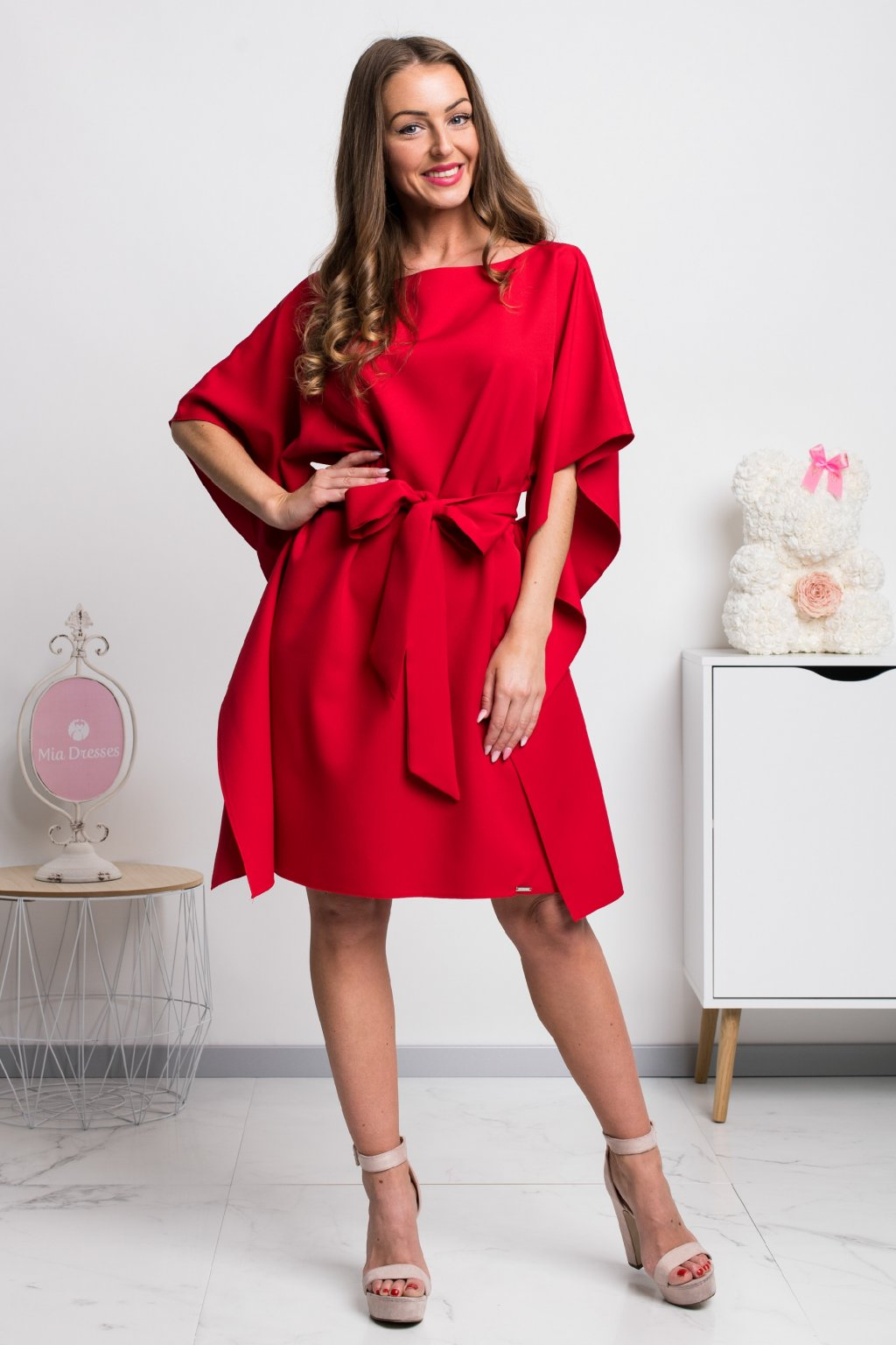 Red flared sleeve short dress