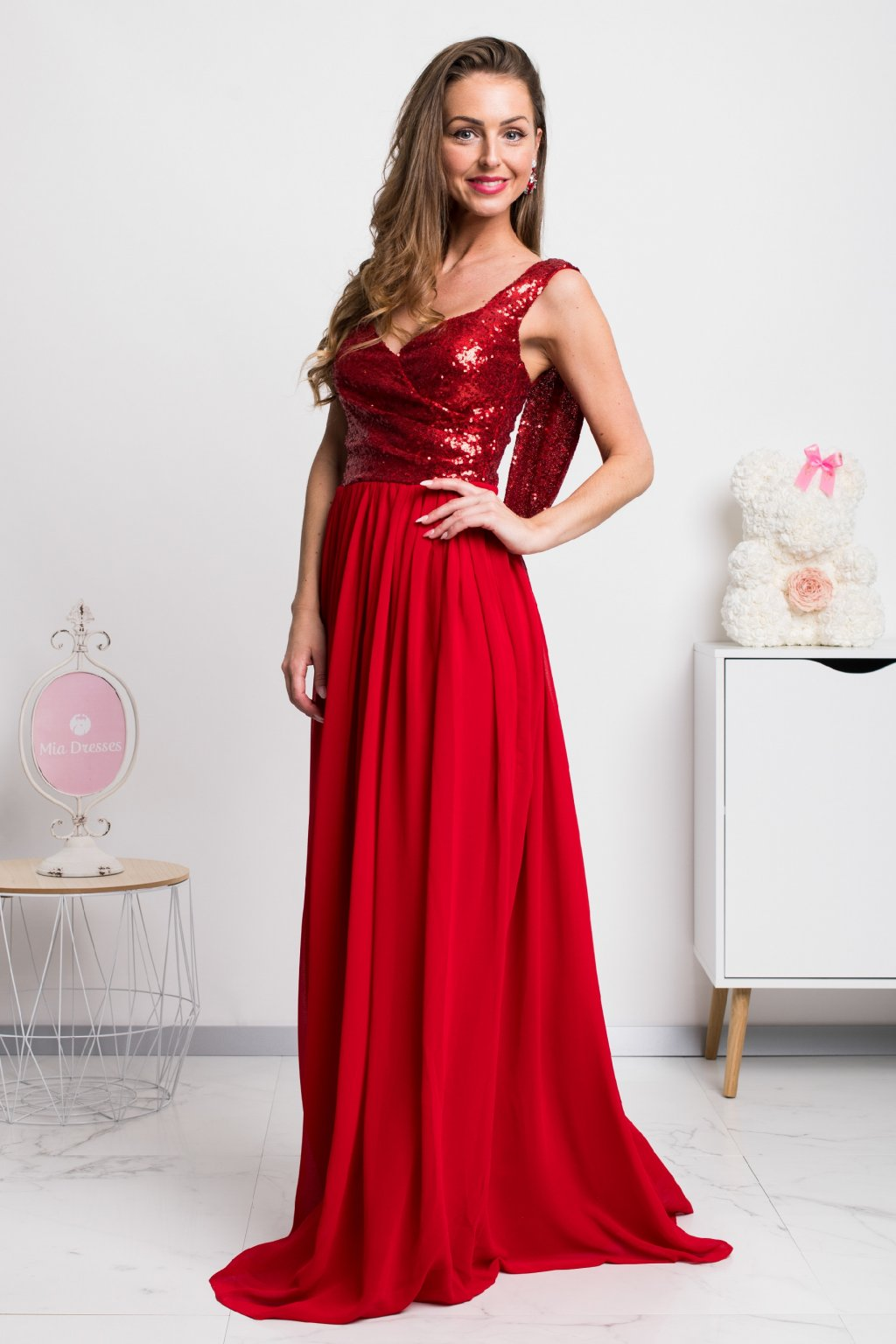 Red chiffon sequin dress