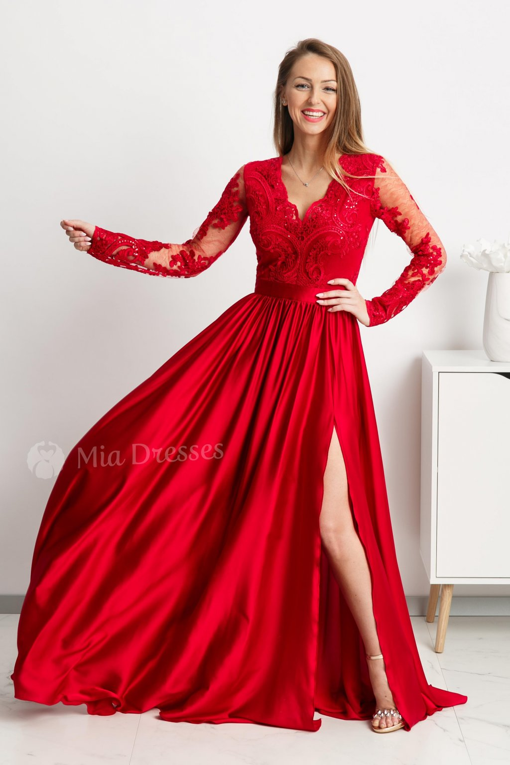Red lace and satin formal dress