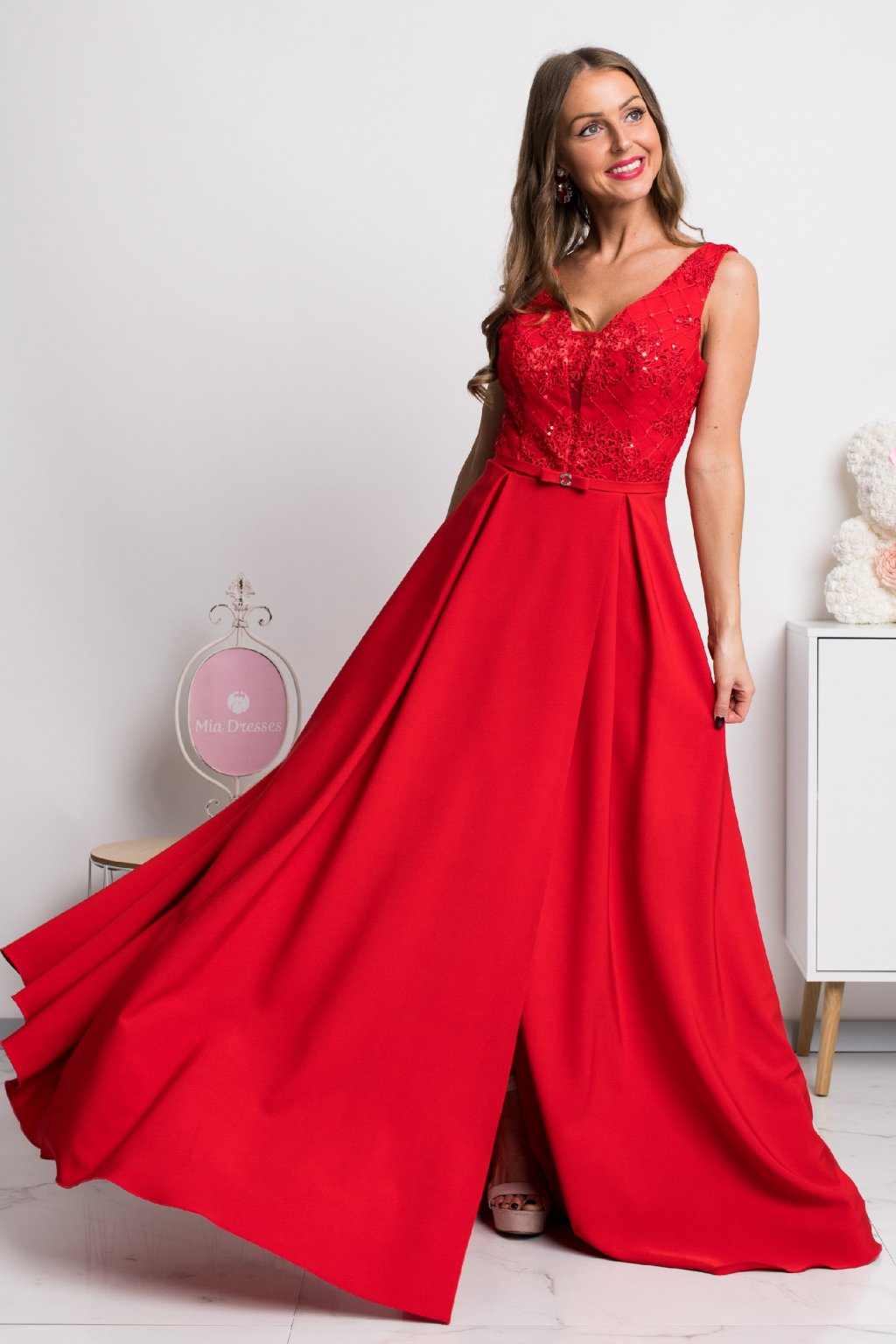Red lace and sequin formal dress