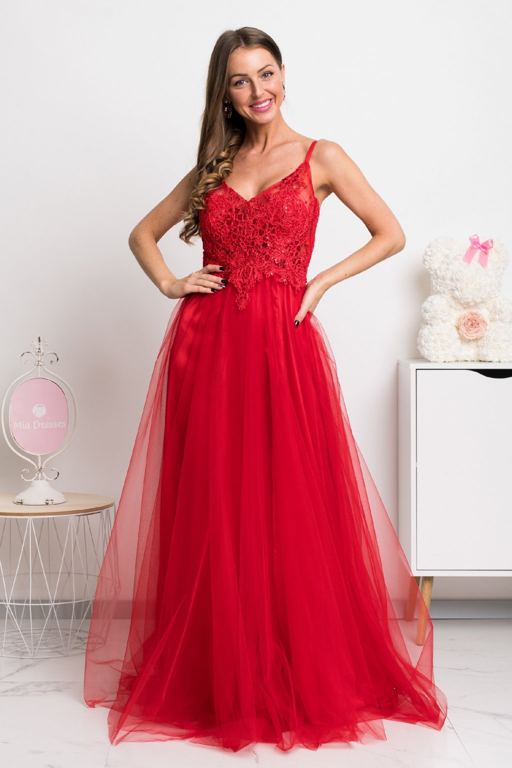 Red lace and tulle formal dress