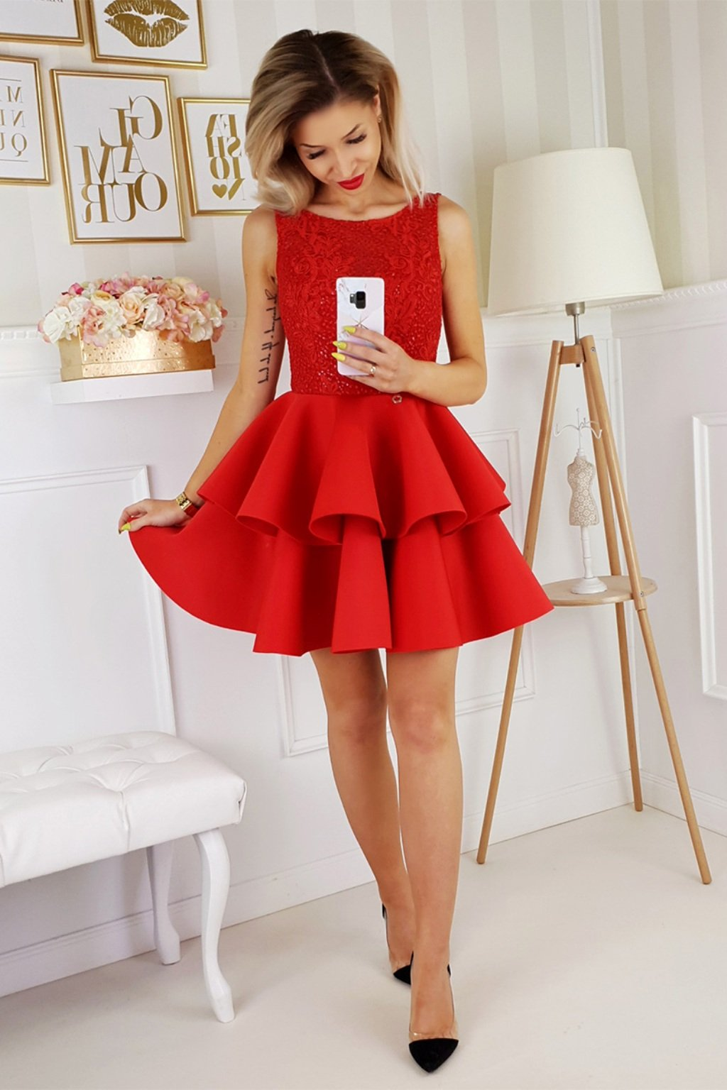 Red lace formal mini dress