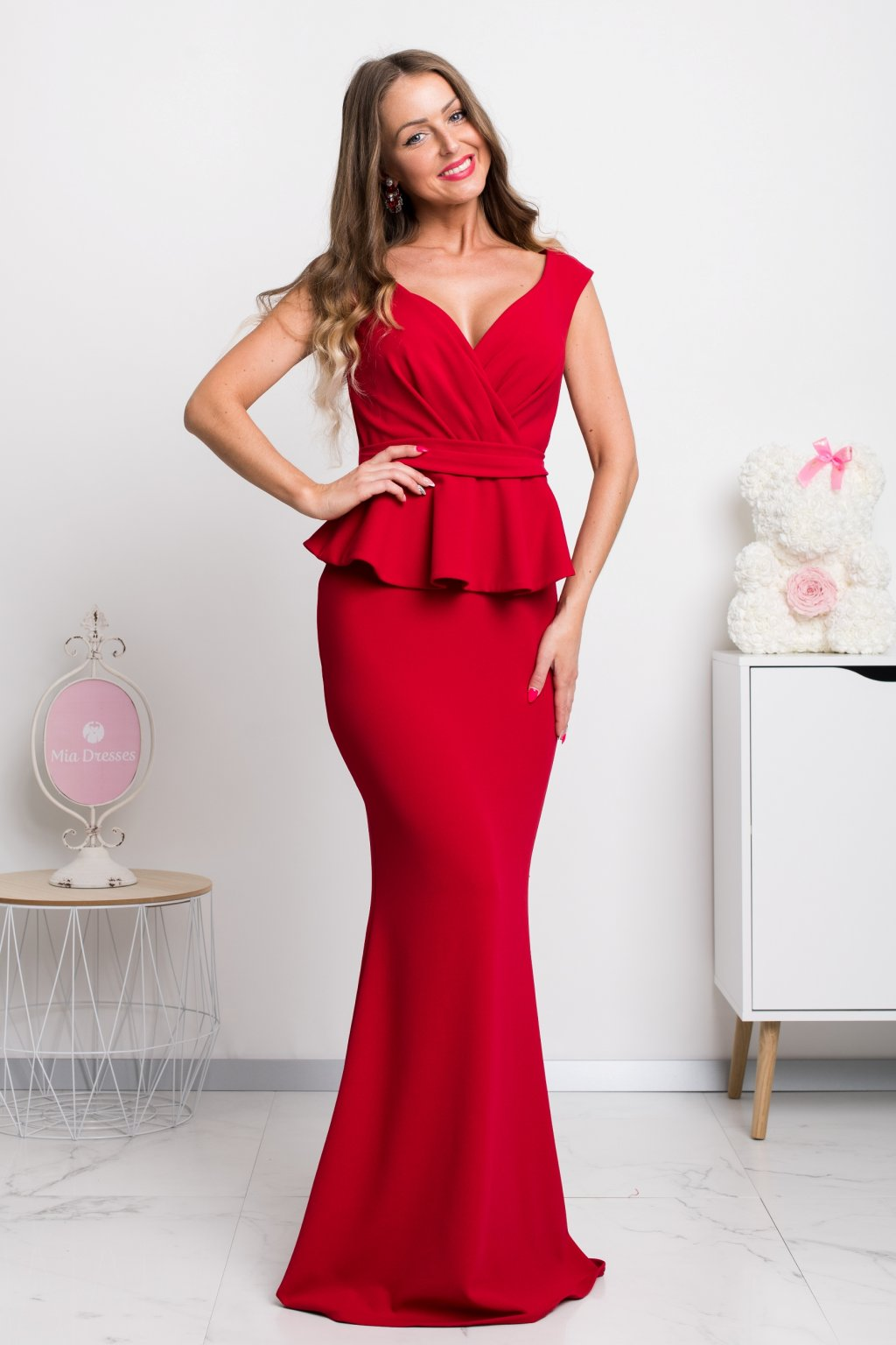 Red ruffle peplum formal dress