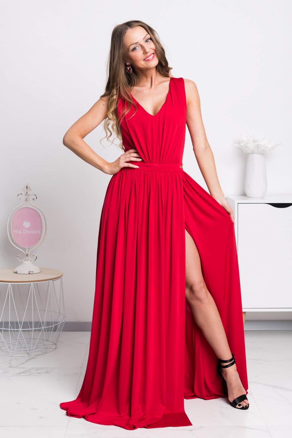 Red split formal dress