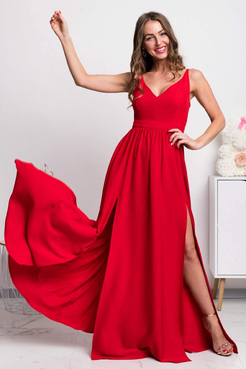 Red split formal maxi dress