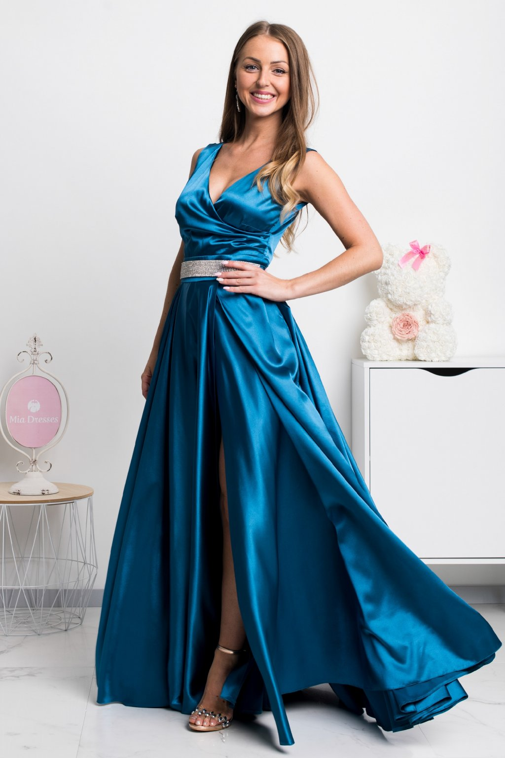 Teal formal dress with strass belt
