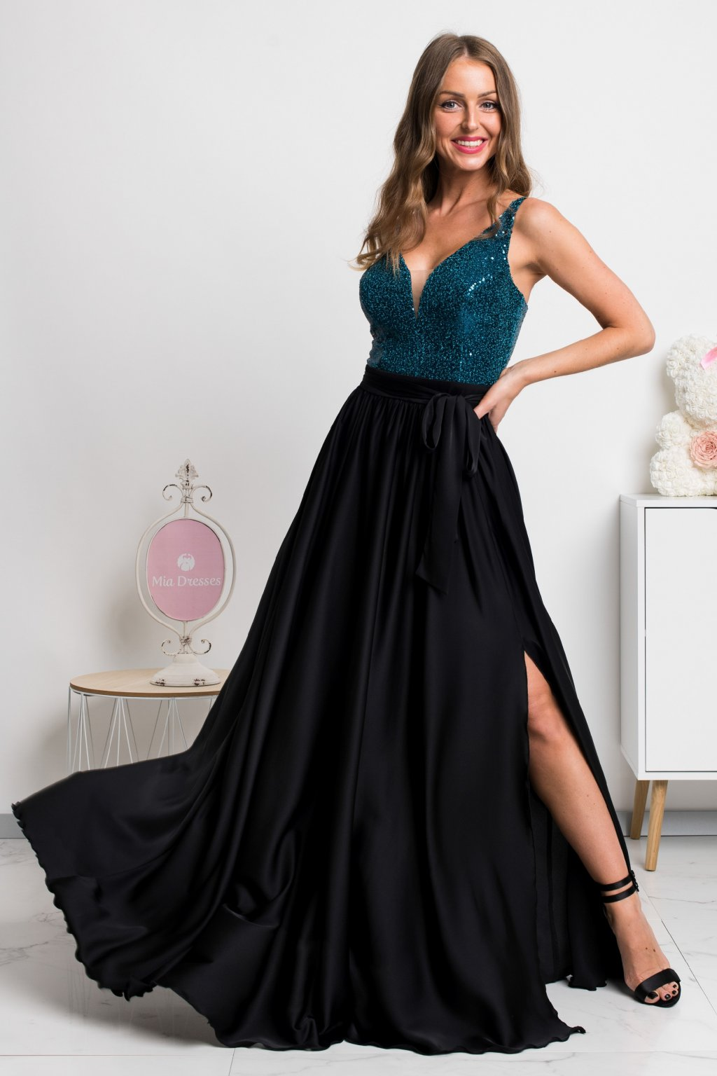 Teal satin sequin formal maxi dress