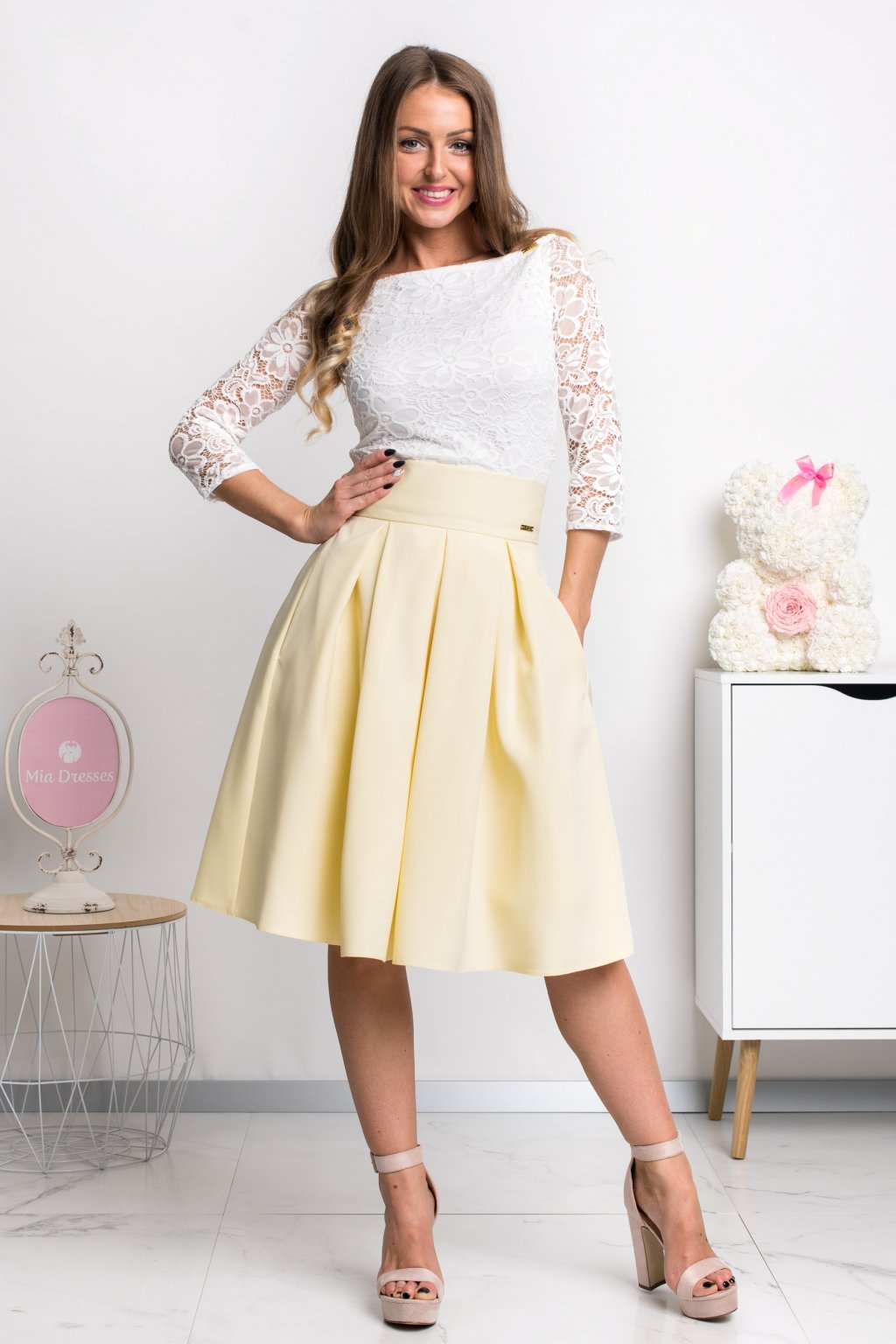 Yellow a-line short skirt